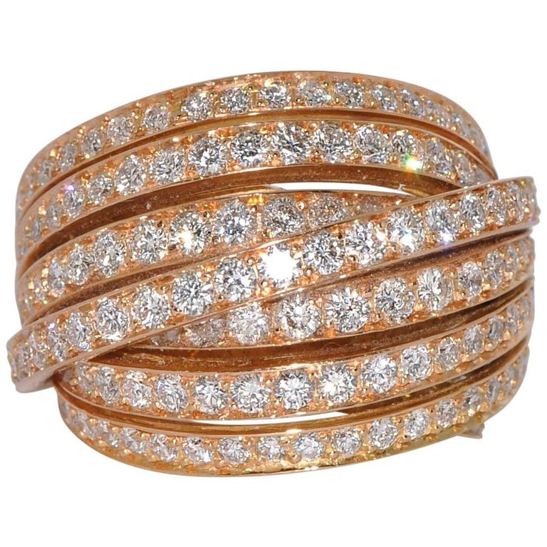 White GSI Diamonds Yellow Gold Cocktail Ring