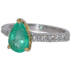Emerald and Diamonds Yellow and White Gold Engagement Ring