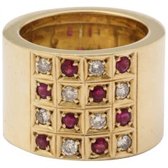 1950s Checkerboard Design Ruby and Diamond Wide High Polish Yellow Gold Band