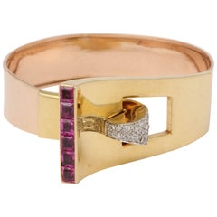 1940s Buckle Design Pink Sapphires with Diamonds Gold Bangle Cuff Bracelet