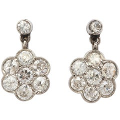Art Deco Rosetta Design Flower Cluster Diamond and Platinum Drop Earrings