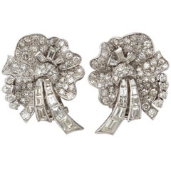 1950s Elegant Figural Pansy Floral Diamond with Baguettes Platinum Earclips