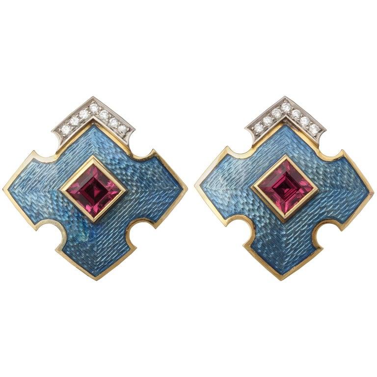 1980s English Ocean Sea Blue Guilloche Enamel, Rubelite and Diamond, Earrings