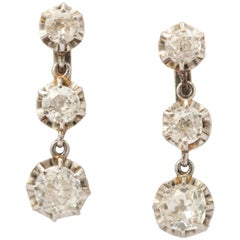 Edwardian Three-Stone Diamond Drop Dangle Platinum and Gold Lever Back Earrings