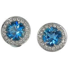 Frederic Sage 1.05 Carat Round Aquamarine Diamond Studs