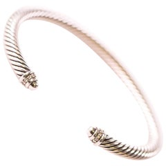 David Yurman Cable Classic Sterling Silver Bracelet with Diamonds
