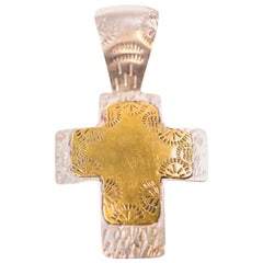 1960s Mexican Origin Sterling Silver Cross Pendant