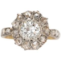 1.00 Carat Diamond 19 Karat Yellow Gold and Platinum Engagement Ring