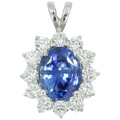 3.62 Carat Oval Sapphire and Diamond White Gold Pendant