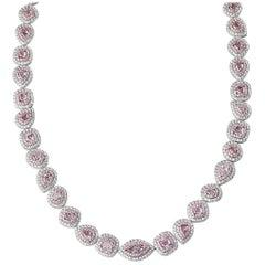 White Gold Fancy Pink Diamond Necklace