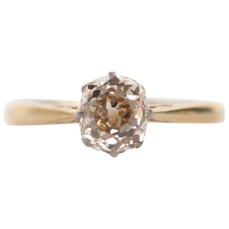 1.51 Carat Diamond 14 Karat Yellow Gold Engagement Ring For Sale