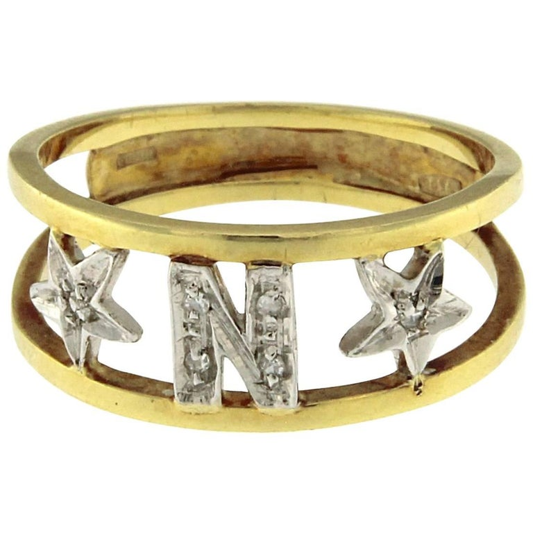 Ring with Letter N and Stars
