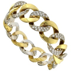 18 Karat Yellow and White Solid Bracelet with Diamonds