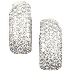 Cartier 16 Carat Diamond In and Out Wide Hoop Clip Earrings