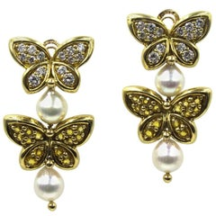 Van Cleef & Arpels Diamond Yellow Sapphire Pearl Butterfly Dangle Clip Earrings