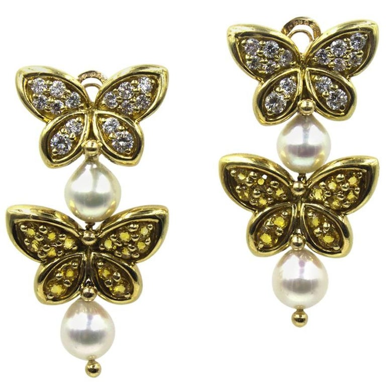 Van Cleef & Arpels Diamond Yellow Sapphire Pearl Butterfly Dangle Clip Earrings For Sale