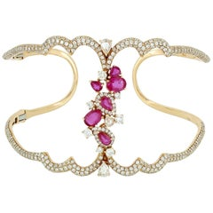 Ruby and Pear Shape and Pave Diamond Open Cuff
