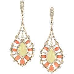Ethiopian Opal Coral Diamond Dangle Earring