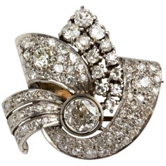 Art Deco White Gold and Diamond Brooch, 1930s