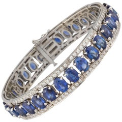 Ella Gafter Blue Sapphire and Diamond Flexible Tennis Bangle Bracelet