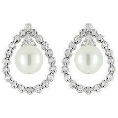 Rose Cut Diamond and Pearl Earring