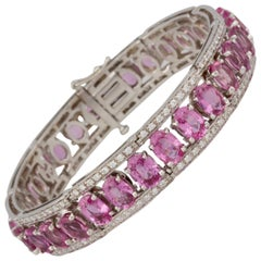 Ella Gafter Pink Sapphire and Diamond Flexible Tennis Bangle Bracelet