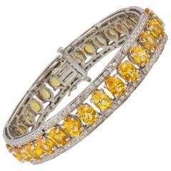 Ella Gafter Golden Yellow Sapphire and Diamond Flexible Tennis Bangle Bracelet
