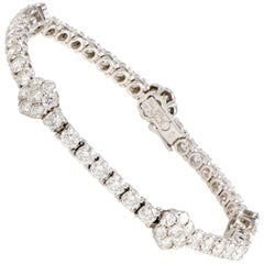 Van Cleef & Arpels Fleurette Full Diamond Pave White Gold Bracelet