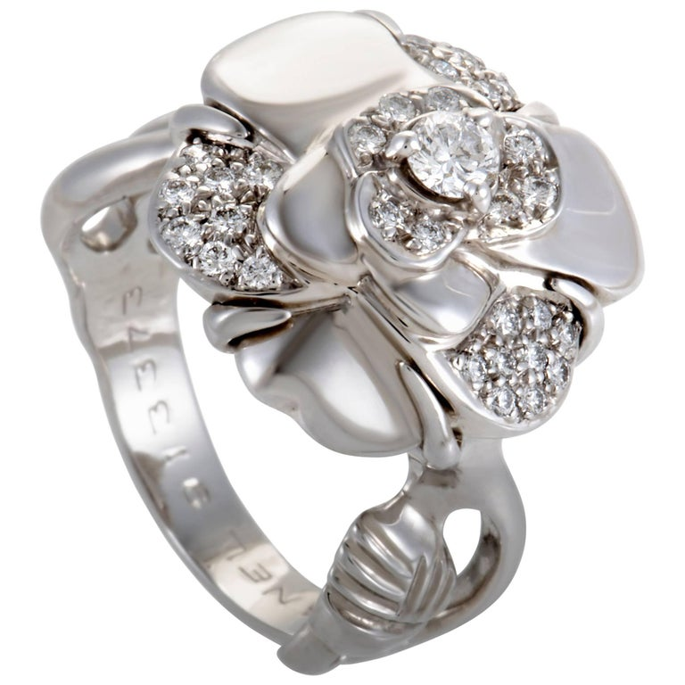 Chanel Camelia Small Diamond White Gold Ring