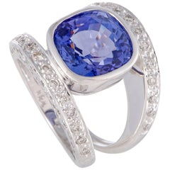 Diamond and Tanzanite White Gold Double Band Ring