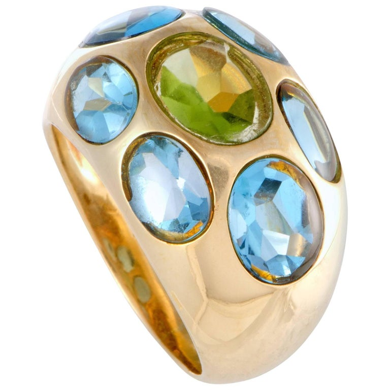 Topaz and Citrine Yellow Gold Bombe Ring