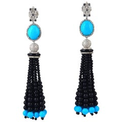 Black Onyx and Turquoise Tassel Earring with Diamonds