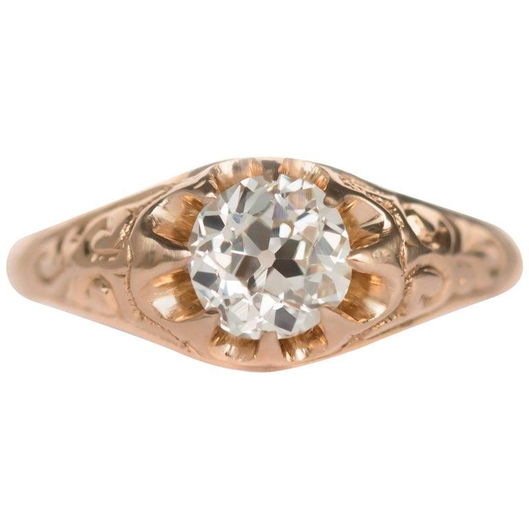 .83 Carat Diamond 14 Karat Yellow Gold Engagement Ring For Sale