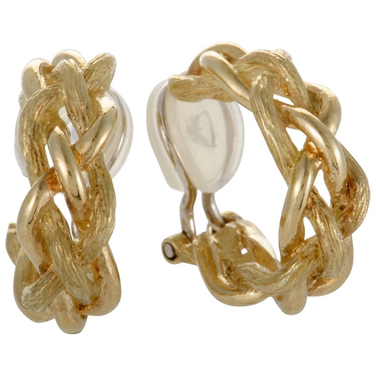 Tiffany & Co. Small Yellow Gold Braided Clip-On Earrings