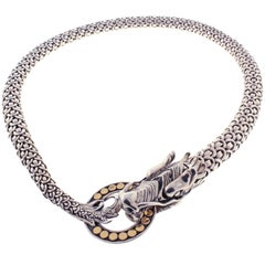 John Hardy Naga Dragon Dot Circle Gold and Silver Chain Necklace