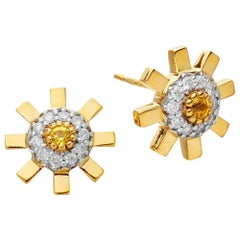 Sun Ray 18 Karat Gold, Diamonds and Yellow Sapphire Stud Earrings