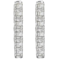 18 Karat White Gold Diamond Hoop Earrings Baguettes and Round Diamonds