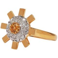 Sun Ray 18 Karat Gold, Diamonds and Yellow Sapphire Engagement Ring