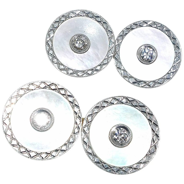Platinum, Diamond and Mother-of-Pearl Cufflinks, Carrington, circa 1920 For Sale