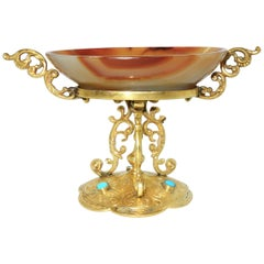 Antique Agate and Enamel Ring Holder, circa 1880