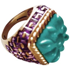 Basket-Weave 14 Karat Gold, Amethyst and Hand-Carved Turquoise Cocktail Ring