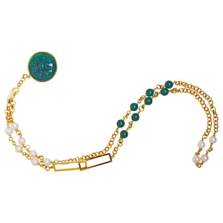 Handmade 14 Karat Gold, Pearl, Green Agate Beads and Charm Chain Necklace