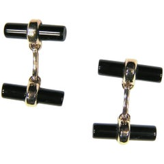 Rose Gold Cufflinks Onyx Modern