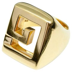 Greek Key 18 Karat Gold Cocktail Ring