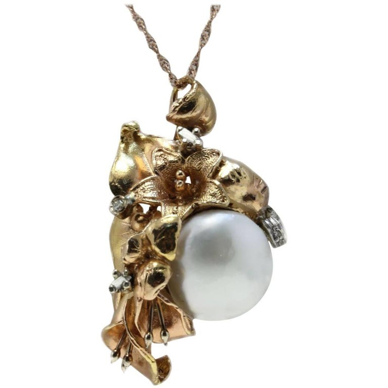 Rose Gold Diamonds and Baroque Pearl Necklace or Pendant