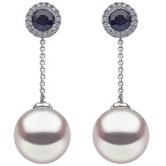 Yoko London Freshwater Pearl Earrings in White Gold with Diamonds and Sapphires