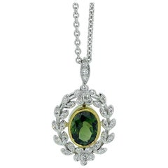 Antique Style 1.82 Carat Green Tourmaline Pendant with 0.21 Carat Diamonds