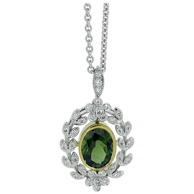 Antique Style 1.82 Carat Green Tourmaline Pendant with 0.21 Carat Diamonds For Sale