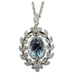 Antique Belle Époque Style 1.70 Carat Aquamarine and Diamond Pendant in 18 Carat
