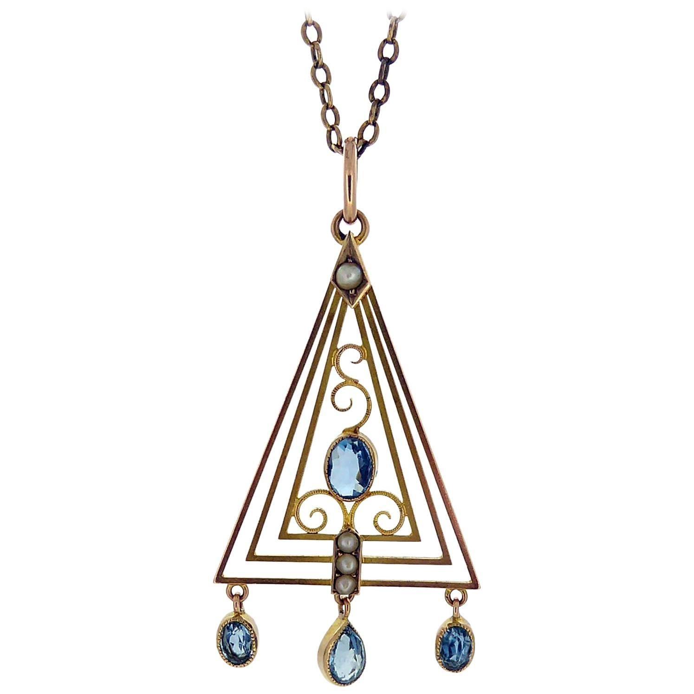 Art Deco Pendant with Aquamarine and Pearls, circa 1920s